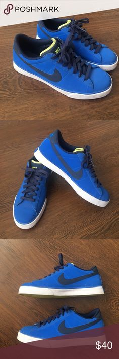 Nike Sweet Classic Leather Blue Men's Shoes 9.5 Nike Sweet Classic Leather Shoes. 318333-405. Comfy and stylish blue, white and yellow sneakers. Men's size 9.5. Worn twice. In great condition. Nike Shoes Sneakers