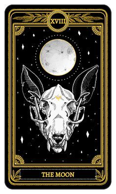 The Moon from the Major Arcana of the Marigold TarotYou can find Tarot cards and more on our website.The Moon from the Major Arcana of the Marigold Tarot Tarot Tattoo, Arte Black, Tarot Gratis, Art Carte, Tarot Major Arcana, Arte Obscura, Tarot Readers, Tarot Spreads, Oracle Cards