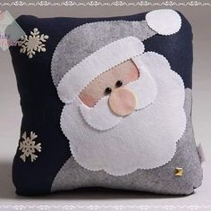 Felt pillow of Santa Claus. Felt Christmas Ornaments, Christmas Pillow, Christmas Art, Christmas Projects, Christmas Stockings, Christmas Decorations, Christmas Cushions To Make, Pillow Crafts, Felt Pillow