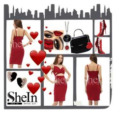 """shein burgundy dress"" by ashantay87 ❤ liked on Polyvore featuring Giuseppe Zanotti, Love Moschino and Yves Saint Laurent"