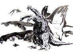 King Ghidorah in Sumi-e - Kaiju - Godzilla - Original 11 x 14 Sumi-e Painting