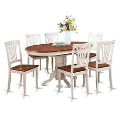 East West Furniture Keav7 Whi W 7 Piece Dining Table Set