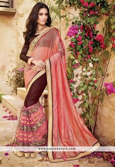 Perfervid Peach And Brown Patch Work Designer Party Wear Saree