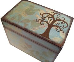 Recipe Box Decoupaged LARGE Handcrafted Kitchen by GiftsAndTalents