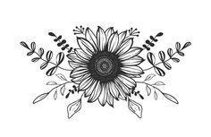 Sunflower Drawing, Sunflower Tattoos, Sunflower Tattoo Design, Flower Tattoo Designs, Black And White Flower Tattoo, Black And White Art Drawing, Alien Tattoo, Black Tattoos, Body Art Tattoos