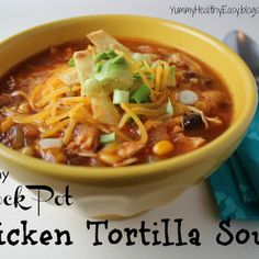 Healthy Crock Pot Chicken Tortilla Soup. I only used one can of chicken broth and one can of diced tomatoes. I added one 4 oz can of diced green chiles and omitted the salt.