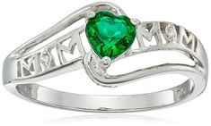Created Emerald and Diamond Accent Mom Heart Ring in Sterling Silver, Size 7 -- Visit the image link more details. (This is an affiliate link) #WomensJewelry