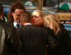 Lauren Bacall (C) kisses a mourner after attending the wake of actress Natasha Richardson at the American Irish Historical Society March 20, 2009 in New York City.  Richardson died at Lenox Hill Hospital on March 18, 2009 in New York City after suffering a ski injury at Mont Tremblant resort in Montreal.  (Photo by Mario Tama/Getty Images) *** Local Caption *** Lauren Bacall