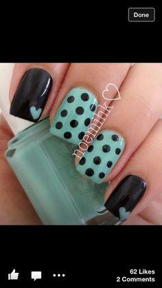 Fun finger nails in teal, black, polka dots patterns w/ hearts Get Nails, Fancy Nails, Love Nails, How To Do Nails, Pretty Nails, Hair And Nails, Fabulous Nails, Perfect Nails, Amazing Nails
