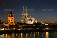 Cityscape of Cologne by Circumnavigation. Cityscape of Cologne with the famous cathedral at dusk