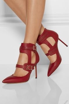 Valentino Hitch On Cutout Leather Pumps - Valentino's Italian-crafted pumps are part of the house's new 'Hitch On' shoe line for Fall '14 - cutouts and studded buckles are the collection's signatures. This scarlet pair will work equally well with denim, leather pants or dresses. Heel measures approximately 100mm/ 4 inches Scarlet leather Buckle-fastening straps