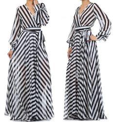 BLACK/WHITE Stripe FULL SWEEP Chiffon MAXI DRESS Wrap SHEER Long Skirt Vtg Style #tamarstreasuresgeneric #Maxi #Cocktail