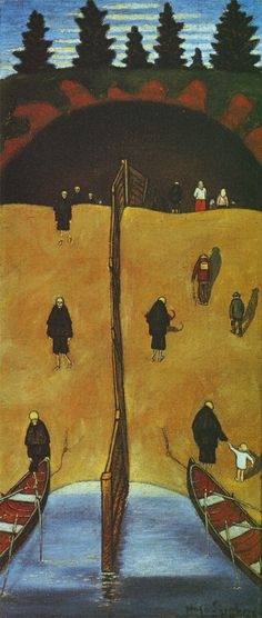HUGO SIMBERG Tuonelan Portilla Finnish symbolist painter and graphic artist. Henri Rousseau, Henri Matisse, Danse Macabre, Yellow Art, Post Impressionism, Collaborative Art, Art Database, Vanitas, Naive Art