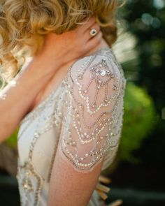 Vintage wedding dress with cap sleeves