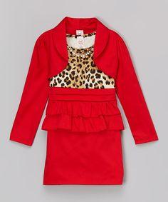Loving this Red Leopard Dress Set - Toddler & Girls on #zulily! #zulilyfinds