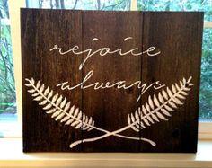 "rejoice always reclaimed wood sign 13"" x 16"""