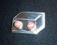 Couveuse, hanger of broche, zilver met 2 6mm rodochrosiet