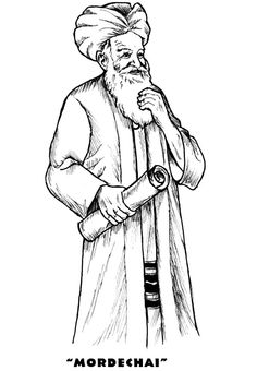 mordechai in purim coloring page
