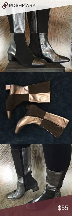 Flashy 60s style leather boots These remind me of a retro style boot, or even Ziggy Stardust💕They are so unique, fun, and flashy without being too outrageous. I wore them only a couple times. Sides zip up. Great condition. Made of genuine leather. Half dark gray suede and other half textured silver. Franco Sarto brand. Size 8M. Franco Sarto Shoes Heeled Boots