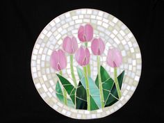 Pink Tulips mosaic by Pauline Gallagher Mosaic Tray, Mosaic Tile Art, Mosaic Crafts, Mosaic Projects, Stained Glass Projects, Stained Glass Patterns, Mosaic Patterns, Mosaic Glass, Glass Art