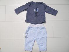 80a8a80ebd6fe Ensemble t-shirt manches longues et pantalon 3 MOIS bleu et gris