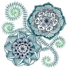 Teal Floral Doodle Art Print