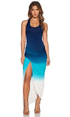 Young, Fabulous & Broke Sassy Maxi Dress in Navy & Aqua Ombre