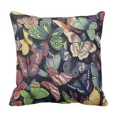 Vintage Butterflies - Throw Pillow/Lumbar Pillow - vintage gifts retro ideas cyo