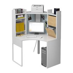 MICKE Corner workstation IKEA The top shelf with cable outlet is suitable for your printer or other equipment.