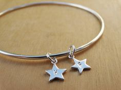 Silver Bangle & Tiny Stars With Initials on Etsy, £26.00