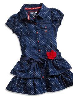 Little Girl Polka Dot Denim Dress Girls Denim Dress, Kids Dress Wear, Little Girl Outfits, Toddler Girl Dresses, Kids Outfits, Girls Dresses, Baby Girl Dress Design, Girls Frock Design, Baby Frocks Designs