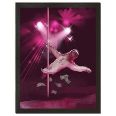 """Make it rain stripper sloth! Imagine how long it would take to collect all those bills! Printed on 18"""" x 24"""" cover stock paper. Rolled for shipment."""