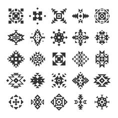 Ethnic or tribal style black and white geometry flat elements set isolated vector illustration Motif Vector, Vector Pattern, Pattern Art, Motif Navajo, Navajo Pattern, Motif Design, Pattern Design, Geometric Stencil, Native Design