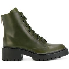 Kenzo combat boots (30.235 RUB) ❤ liked on Polyvore featuring shoes, boots, green, combat boots, chunky lace up boots, green boots, leather military boots and laced boots