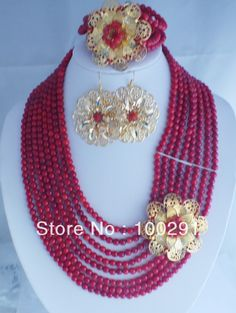 Nigerian Beads Jewelry | FreeShipping-Fashion-African-Coral-Beads-Jewelry-set-necklace-bracelet ...