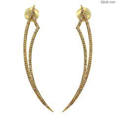 18k Yellow Gold 1.20ct Diamond Pave Fashion Dangle Stick Earrings Fine Jewelry #Handmade #DropDangle