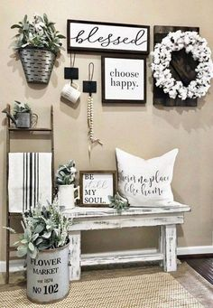 Inspirational wall decor ideas for your living room! - Inspirational wall decor id . - Inspirational wall decor ideas for your living room! – Inspirational wall decor ideas for your li - Modern Farmhouse Decor, Farmhouse Kitchen Decor, Rustic Decor, Farmhouse Style, Farmhouse Ideas, Rustic Design, Country Wall Decor, Rustic Room, Farmhouse Signs