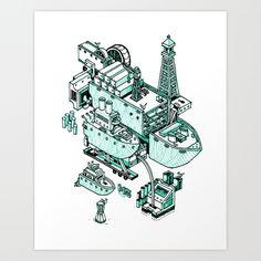 Small City - Green by Nigel Sussman #poster #print