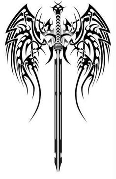 tribal-wings-sword-tattoo-version.jpg (300×462)
