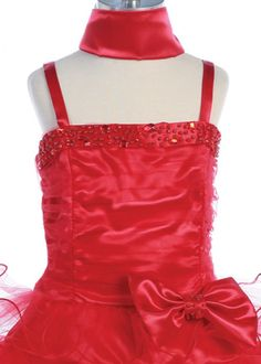 Red Layered Tulle Dress with Sequence