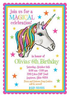 Unicorn Invitations Birthday Party Invites Magical Fairytale Rainbow Girls