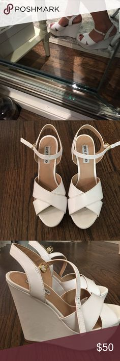 Steve Madden wedges Gorgeous white wedges in mint condition. Worn 2x. Great with jeans, dresses, skirts etc. Purchased at Steve Madden for full retail price. Steve Madden Shoes Wedges