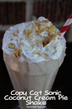 Copy Cat Sonic Coconut Cream Pie Shake 2 1/2 cups Vanilla Ice Cream 1/2 cup milk 1/4 cup Cream of Coconut 2 tbsp graham cracker Garnish with whipped cream and graham cracker 1. Blend Vanilla Ice Cream, Milk and Cream Of Coconut until smooth 2. Add in Graham Cracker and blend 3. Garnish with whipped cream and graham crackers
