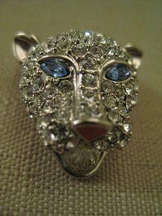 Un Worn Crystal Rhinestone Enamel Silver Tone Metal Crystal