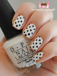 Cosmetic Cupcake: Black and white polka dot manicure