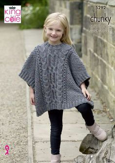 Tabbards & Hat Knitted in Chunky Tweed – King Cole – Knitting patterns, knitting designs, knitting for beginners. Baby Boy Knitting Patterns, Beginner Knitting Patterns, Fair Isle Knitting Patterns, Knitting For Beginners, Baby Knitting, Free Knitting, Col Crochet, Crochet Poncho, How To Start Knitting