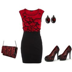 Black and red.  Valentines outfit
