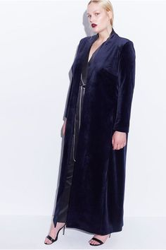 Elvi Hayley Hasselhoff Collection Long Velvet Coat, $129.36, available at Elvi. #refinery29 http://www.refinery29.com/plus-size-fall-trends-2016#slide-9