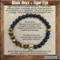 A powerful protection stone, Black Onyx absorbs and transforms negative energy, and helps to prevent the drain of personal energy. Black Onyx fosters wise decision-making. #yoga #Mala #Beaded #Bracelet #mens #bracelets #womens #healing #spiritual #meditation #crystal #crystals #love #style #luck #lucky #artisan #handmade #jewelry #artisan #OOAK  #fallfashion #love #blessed #black #fashion #tiger