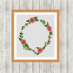 Modern Cross Stitch Pattern   Cherry Blossom Wreath on Craftsuprint - View Now!